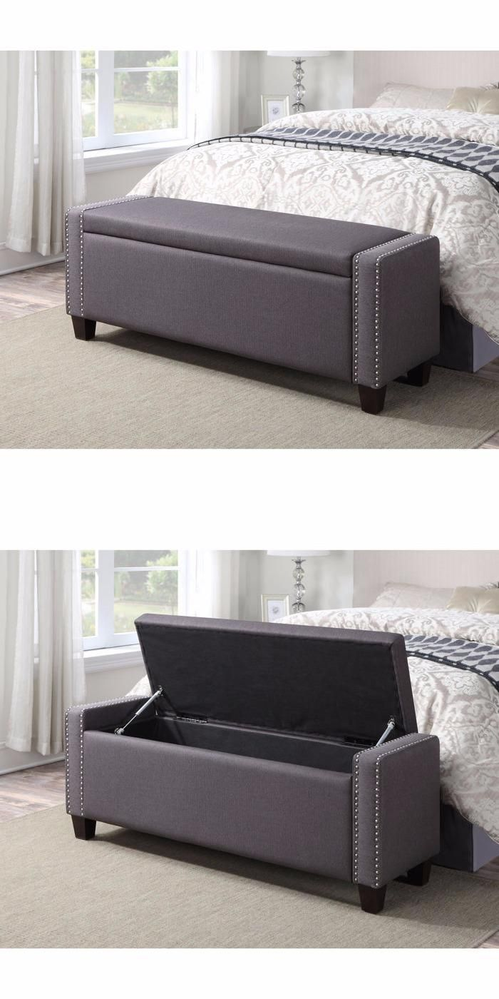 The Mirabella Upholstered Storage Bench creates style and function in one location. Expert tailoring and detailed stitching are finished in a sophisticated brushed nickel nail-head trim.