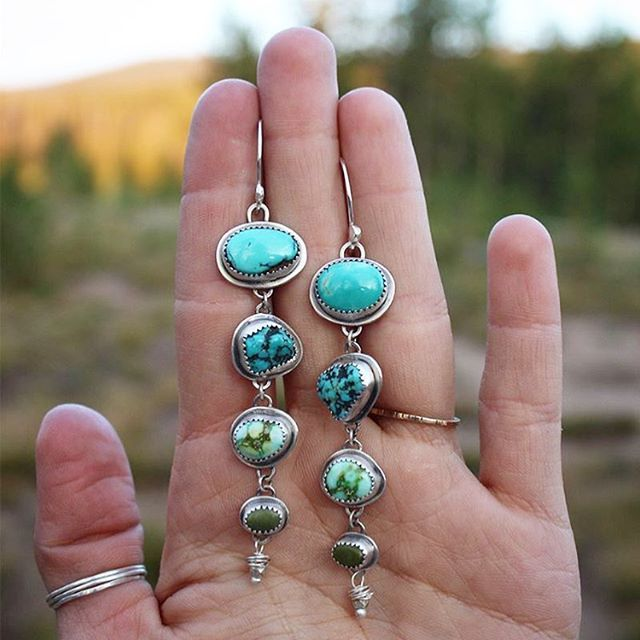 Boucles d'oreilles turquoise   Bijoux turquoise   Boho Bijoux   Turquoise 🙌🏻 @ vancr …