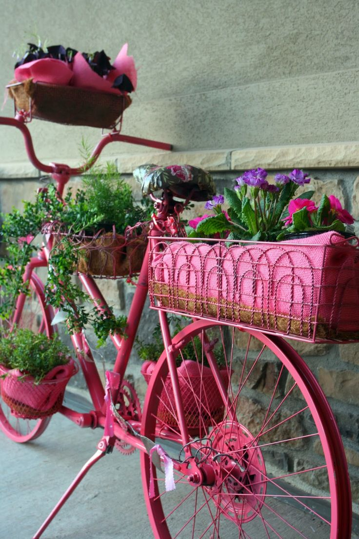 flowering garden bike and porch design container gardening pinterest octobre rose bon. Black Bedroom Furniture Sets. Home Design Ideas