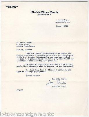 JOSEPH CLARK PENNSYLVANIA SENATOR AUTOGRAPH SIGNED RE-NOMINATION REQUEST LETTER