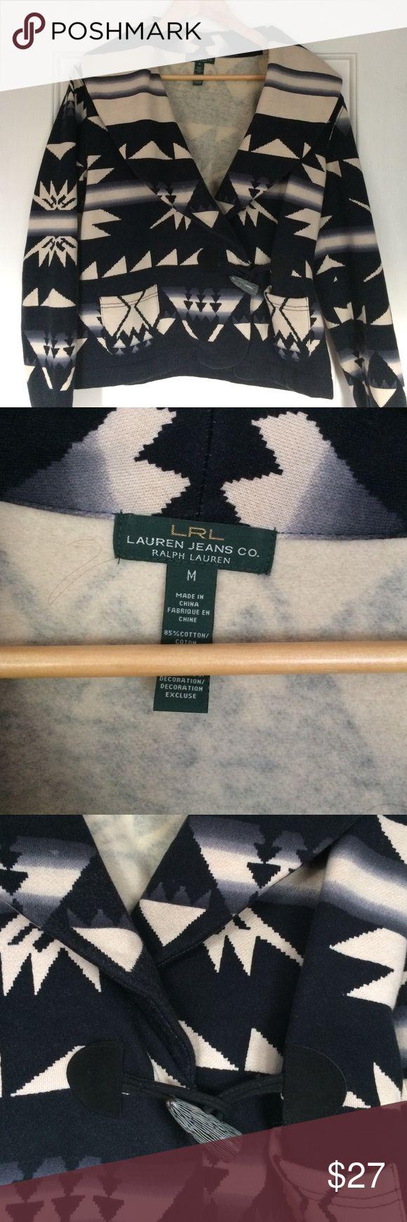 "Ralph Lauren Navajo print jacket like new Lauren jeans co by Ralph Lauren Navajo print jacket. Two square front pockets and hook closure. Heavy knit ""sweatshirt"" material. Like new condition. Size medium. Ralph Lauren Jackets & Coats Blazers"