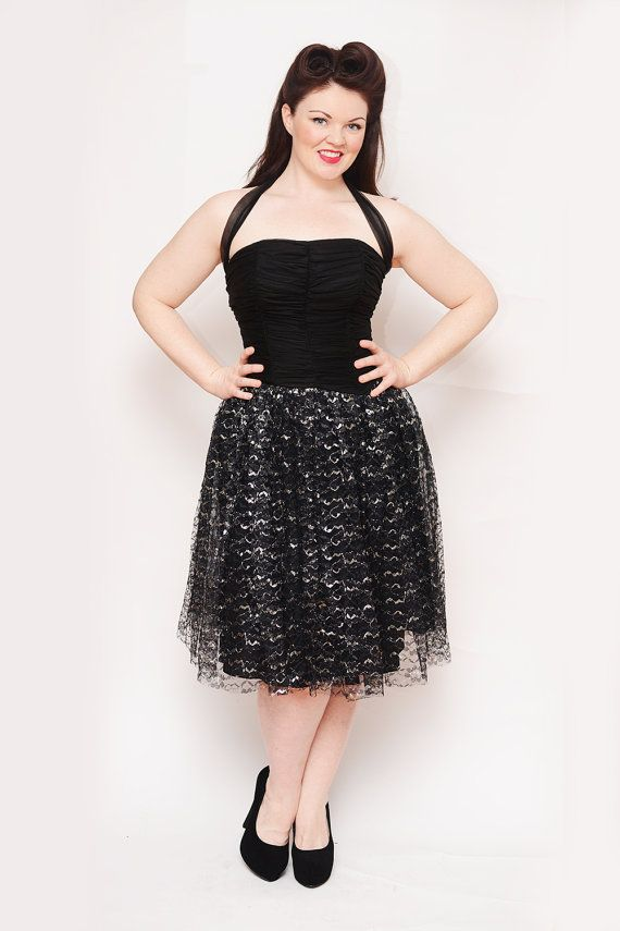 50s Black and Silver Dress - Rockabilly, Pin Up, Vintage, Boning, Prom, Wedding, Teacup Dress, Curvy