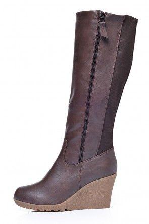 Naomi Elastic Back Wedge Boot in Brown