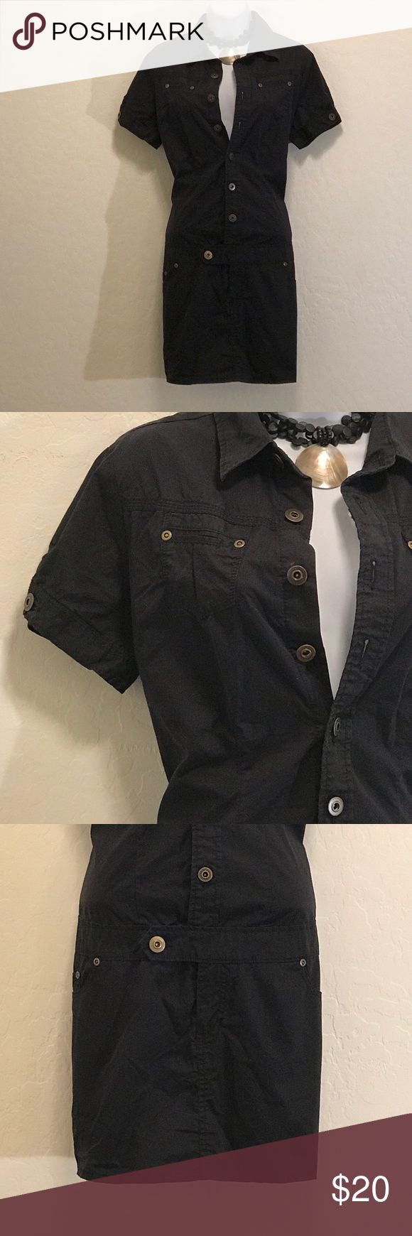 NWOT Black Button Down Shirt Dress Never Worn, Gold Button Down, Pockets Front & Back, Above Knee. Dresses