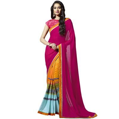 Buy Pink Colour Abstract Print Bangalore Silk Classic Saree-608 by undefined, on…