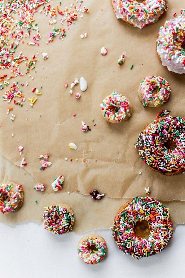 Buttermilk Baked Doughnuts with Vanilla + Chocolate Glaze | edibleperspective.com #glutenfree