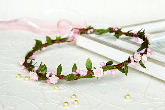 Pink floral crown Pink flower girl crown Wedding by LumilinA
