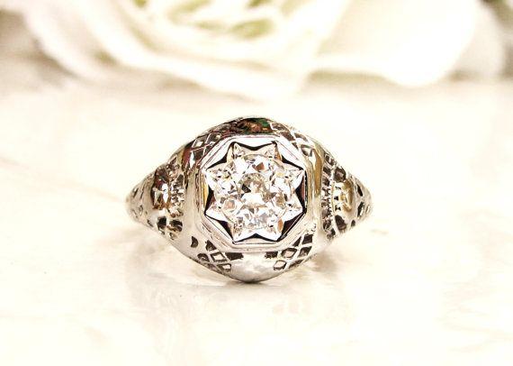 Antique Edwardian Engagement Ring Star Set by LadyRoseVintageJewel