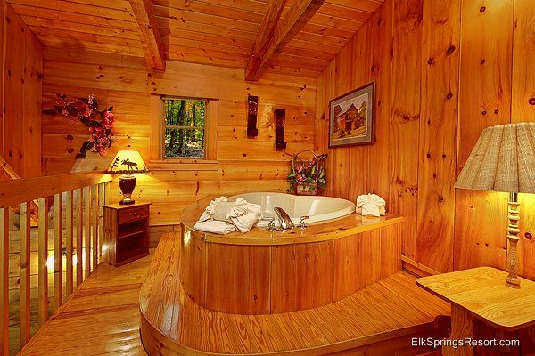 Lucky 39 s dream bathroom to share with trista mountain for Mountain flower cabin pigeon forge