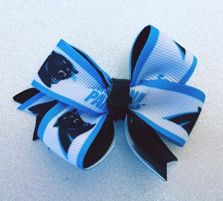 Carolina Panthers NFL Micro Lined Football Hair Bow by Tutus4Tails on Etsy
