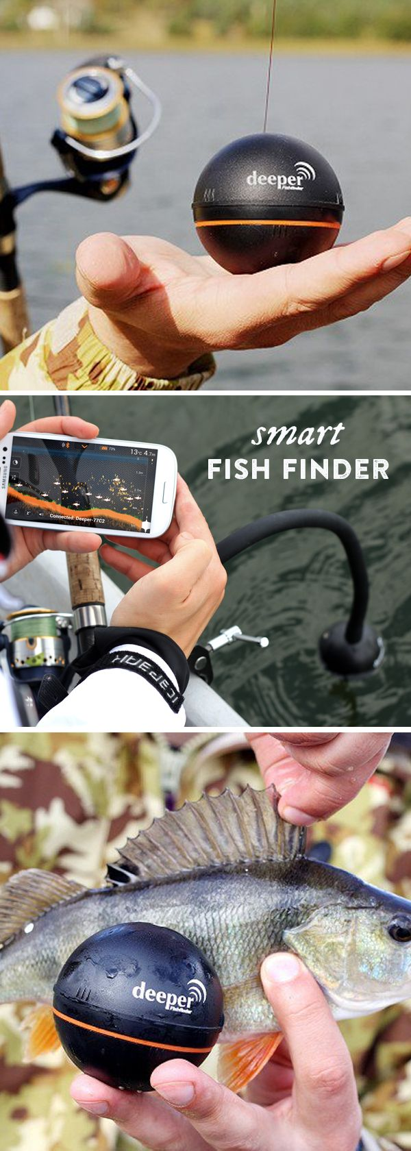 Cast this fish finder out on the water to get an instant diagram of the depth, waterbed contour, the size and location of fish, and the water temperature, too.