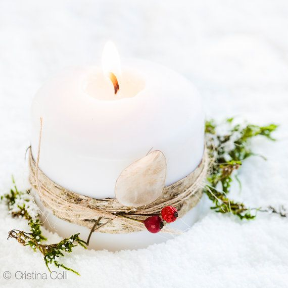 White candle with birch bark, seeds & red berries in the snow    Christmas card available in my shop
