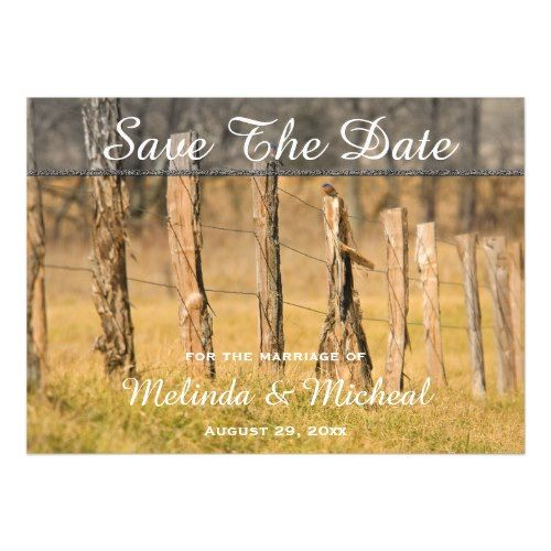 Mountain Wedding Save the Date Cards Rustic Country Fences Fall Wedding Save The Date Magnetic Card