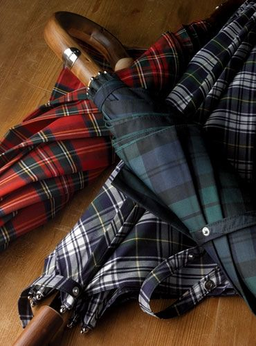 Tartan umbrellas in Dress Gordon, Stewart and Black Watch.