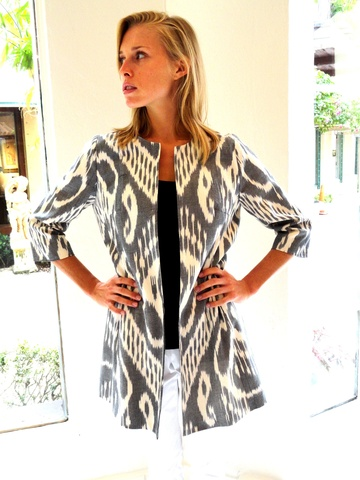 Black + White Ikat Coat by CJ Laing