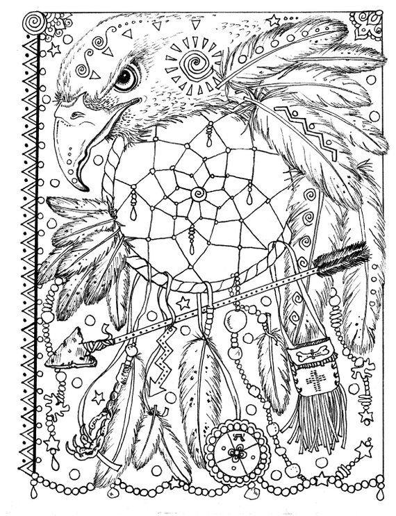 5 Pages Instant Download Animal Spirits To Color Wolf Raven Etsy Dream Catcher Coloring Pages Mandala Coloring Pages Animal Coloring Pages