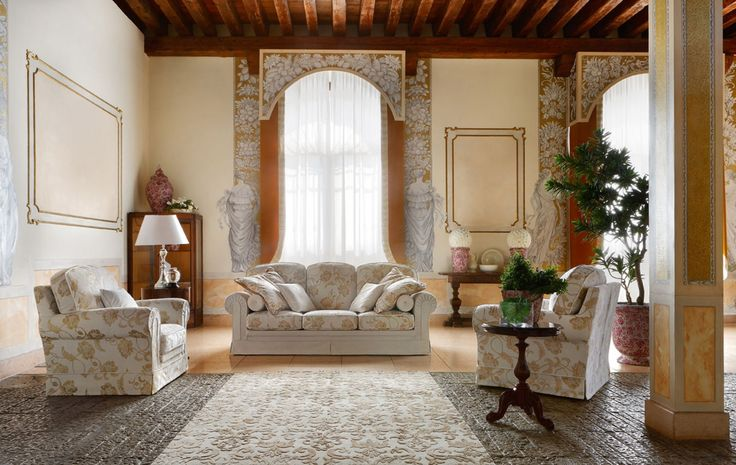 Otello Class sedací souprava a křesla v obývacím pokoji, tradiční styl / classic style of living room