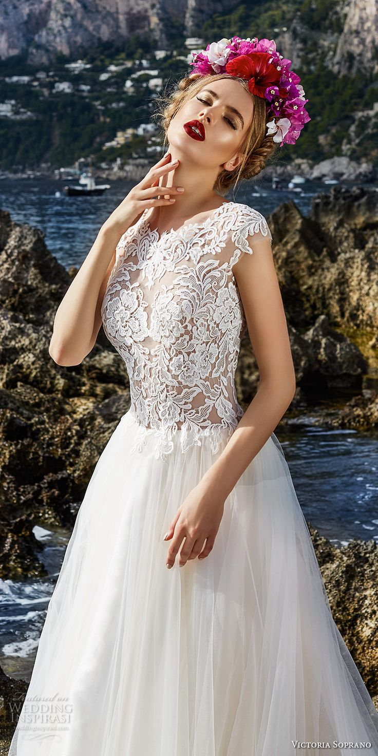 victoria soprano 2017 bridal cap sleeves heavily embellished bodice tulle skirt romantic a line wedding dress covered lace back chapel train (3) mv zv -- Victoria Soprano 2017 Wedding Dresses #wedding #bridal #weddingdress