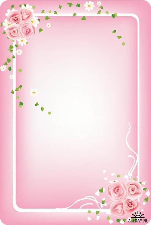 pretty pink border floral - photo #28