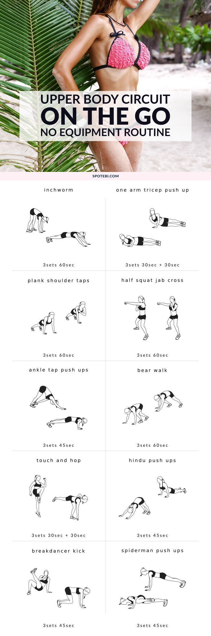 Sculpt your back, chest, shoulders, and arms and boost your weight loss with these 10 upper body bodyweight exercises for women. Try this on-the-go workout next time you're traveling or on vacation. http://www.spotebi.com/workout-routines/upper-body-bodyweight-exercises/
