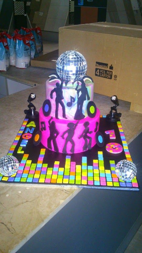 Angel's 10th Birthday Disco Theme! 2 tier dance floor disco sihouette starburst exploding disco ball with lights.