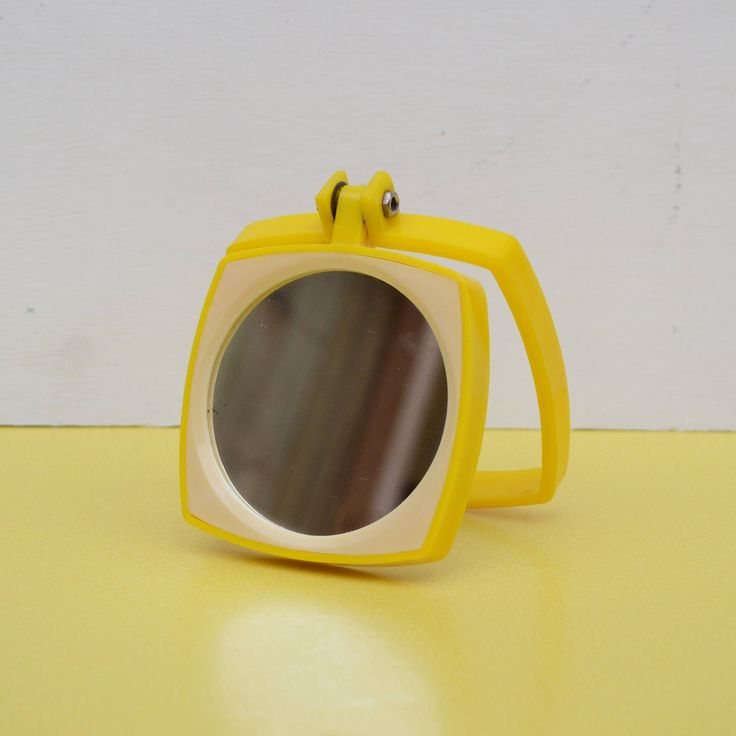 Vintage Magnifying Mirror, Yellow Plastic Mirror, Retro Pocket Mirror, Vintage Travel Mirror, Yellow Frame Mirror, Small Travel Mirror by LittleYellowTable on Etsy