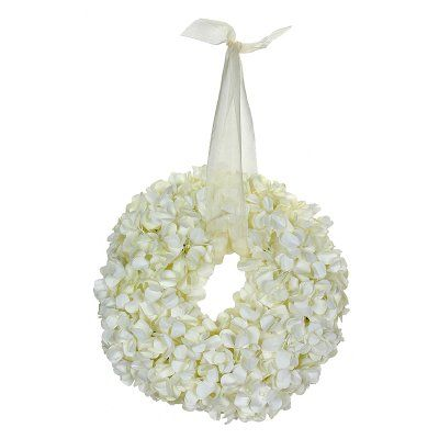 white silk hydrangeas in bulk | the small white hydrangea wreath hints at the elegance of
