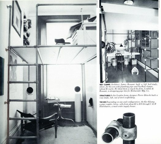Achatz's scaffolding would make a swell little home office with possible bed platform on top. In the great, out-of-print-but-findable 1978 book High-Tech, we found study designer Pierre Botschi built in his home: