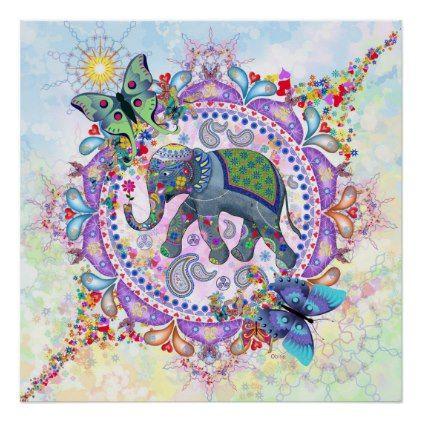 Sacred Elephant Poster -nature diy customize sprecial design