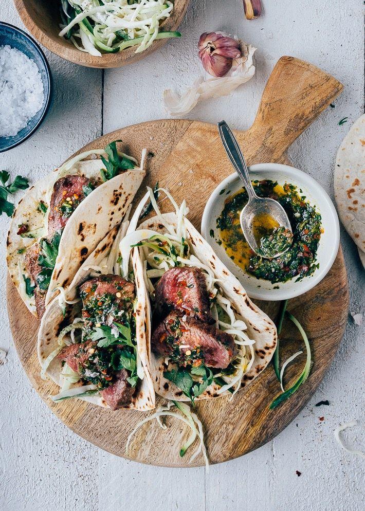 Soft taco's gevuld met chimichurri biefstuk