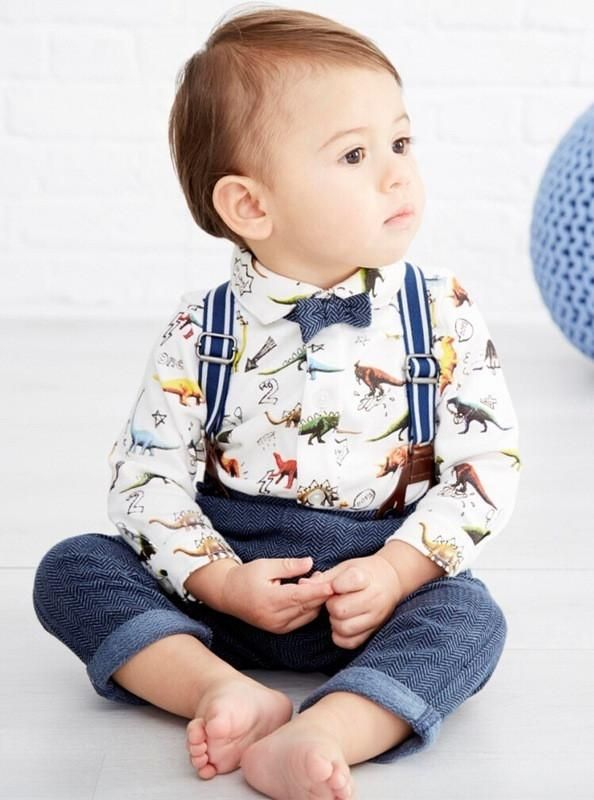 Dinosaur Gentleman Shirt + Pants Set toddler fashion cute boys outfit baby trendy clothes bow tie