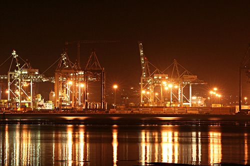 Durban harbour on a humid night