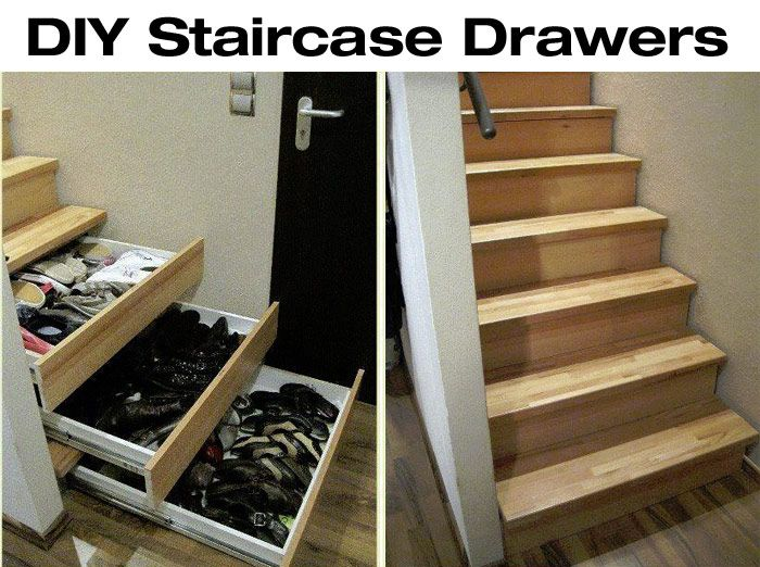 DIY Staircase Drawers for More Storage! - http://diyforlife.com/diy-staircase-drawers-storage/ - #DiyStorage, #StaircaseDrawers