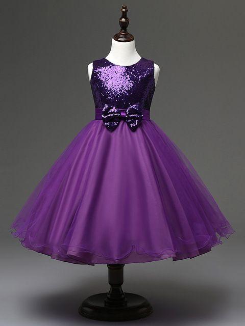 A la venta nuevo niñas niños de la manera 2016 vestidos de fiesta para niños vestido de niña flor púrpura rústico