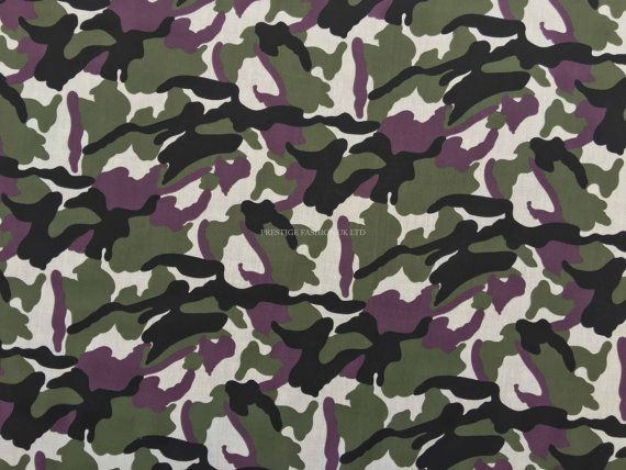 Camo Green/Wine/Red Army Printed Camouflage Mens Military Polycotton dress crafts fancy dress costume Fabric - Per Metre