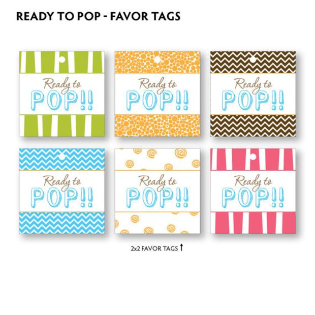 baby shower label template for favors - diy printable ready to pop baby shower favor tags
