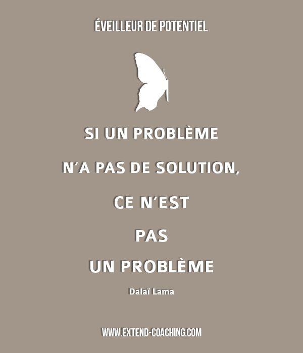 Si un problème n'a pas de solution, ce n'est pas un problème - Dalaï Lama