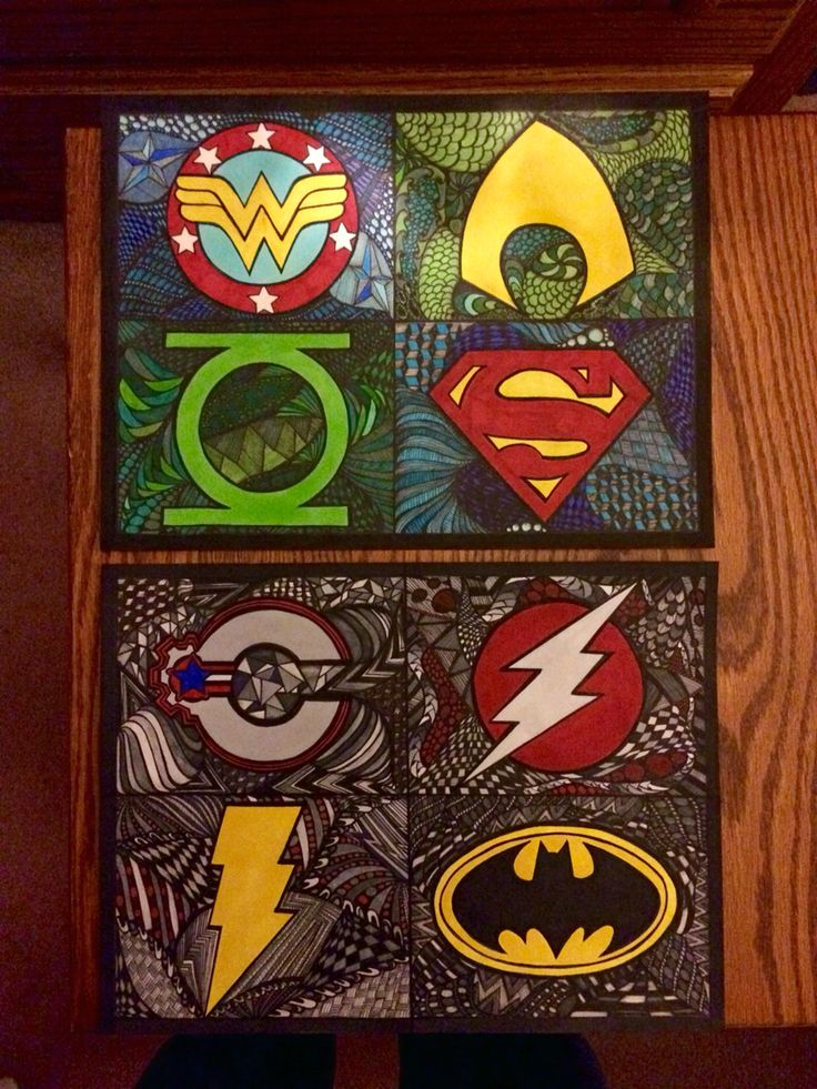 Superhero Zentangle First Big Project I Ve Done For My