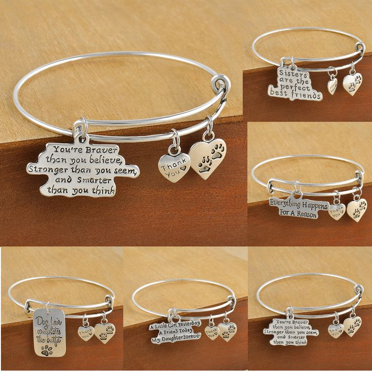Charm Fashion Gifts Women Heart Bangle Bracelet Claws DOG Tag Jewelry Family Daughter Sister Friends
