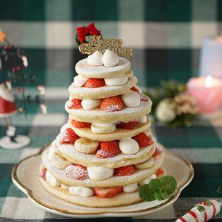ツリーみたあいなパンケーキタワー クリスマスパーティーのアイデア料理