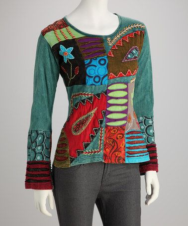 Love this Turquoise & Red Abstract Top - Women by Rising International on #zulily! #zulilyfinds