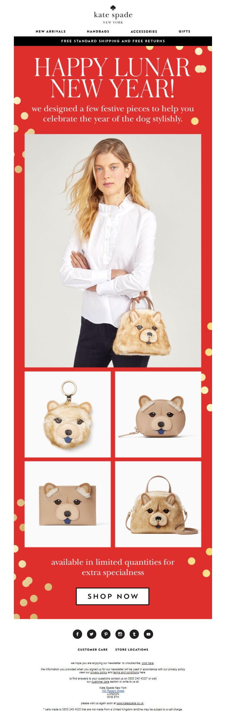 Lunar New Year Email from Kate Spade #EmailMarketing #Email #Marketing #Chinese #Lunar #New #Year #Dog #YearOfTheDog #Product #Recommendations #Fashion