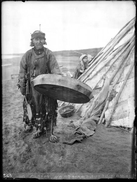 Selkup shaman photographed in 1926 by N.A.Ostroumov. Look at the skeleton feet!