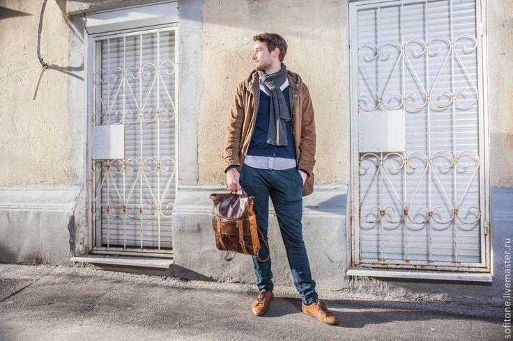 Купить Рюкзак Коричневый с песочным - рюкзак мужской, рюкзак кожаный, городской рюкзак, рюкзак для ноутбука