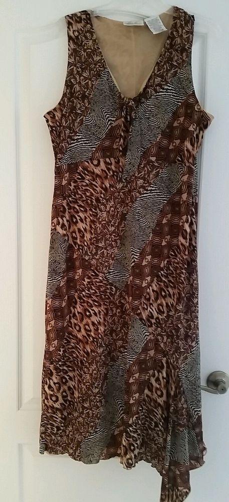 Womens Plus Size 16-18 Tea Length Dress Brown Black Animal Print NWT #KathieLeeCollection #MaxiShift #Casual