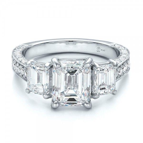 Simple Custom Emerald Cut Diamond Engagement Ring