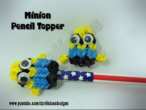 Rainbow Loom MINION Pencil Topper/Charm. Designed and loomed by Kate Schultz of Izzalicious Designs. Click photo for YouTube tutorial. 05/06/14.
