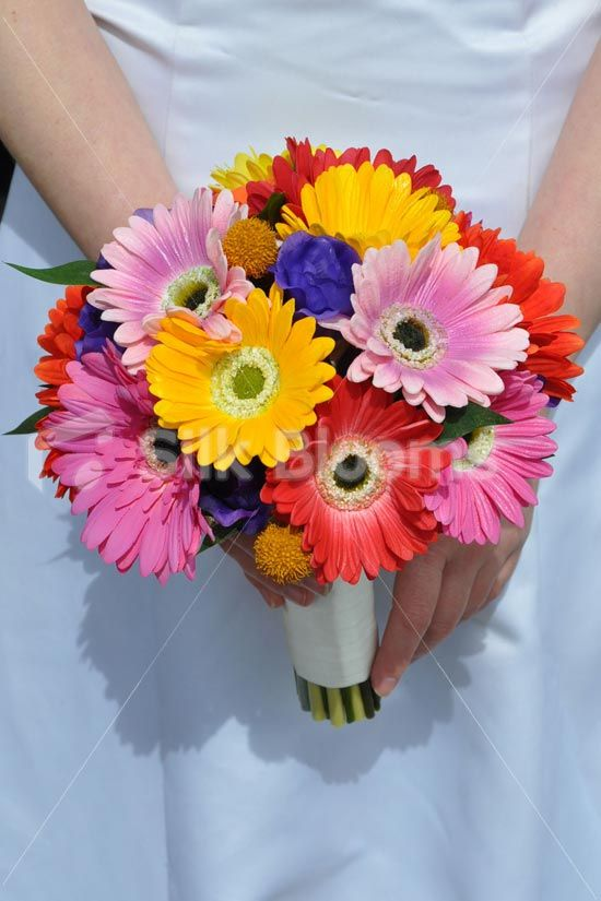 Multicolour Real Touch Small Gerbera Bridal Wedding Bouquet