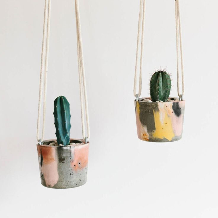 these concrete hanging planters are the cutest