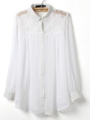 white long sleeve lace turn-down neck shirt